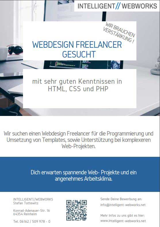 Freelancer Webdesign gesucht  -  Internetagentur INTELLIGENT//WEBWORKS